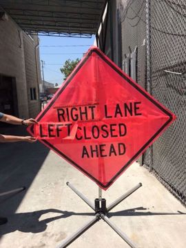 Picture of Road Sign - Lane Closed Ahead